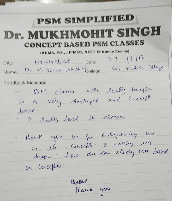 PSM Classes Feedbacks – Psmsimplified